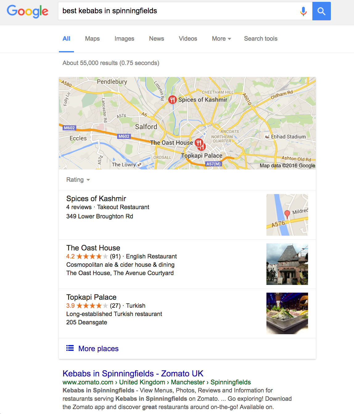 "local search SERP of ""best kebaabs in spinningfields"""
